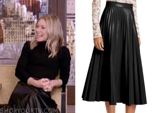 kelly ripa, live with kelly and ryan, black pleated leather midi skirt