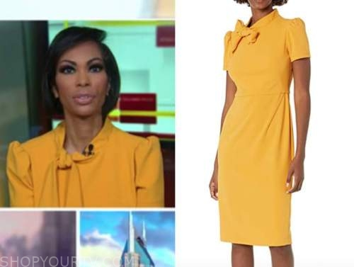 harris faulkner, outnumbered, faulkner focus, yellow tie neck dress