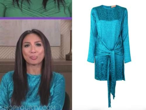 jeannie mai, the real, blue teal giraffe satin dress