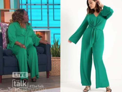 sheryl underwood, the talk, green knot jumpsuit