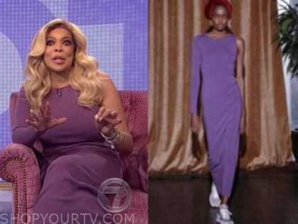 wendy williams, the wendy williams show, purple one-sleeve dress