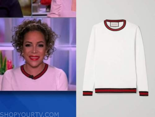 sunny hostin, the view, white and red contrast trim sweater