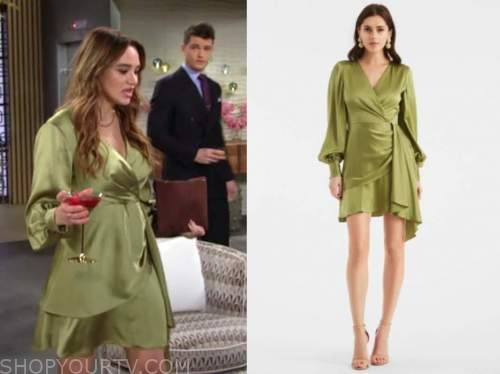 summer newman, hunter king , the young and the restless, green silk wrap dress