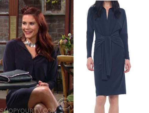 sally spectra, the young and the restless, navy blue tie waist dress, courtney hope