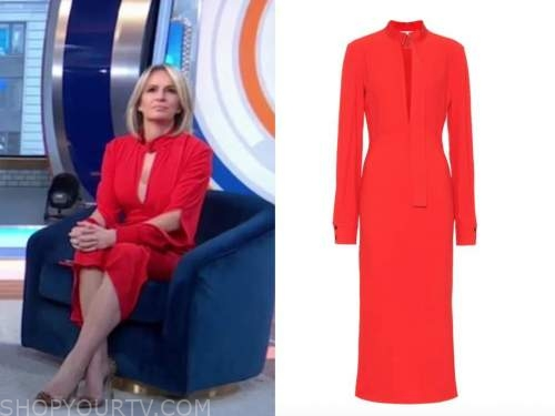 dr. jennifer ashton, red keyhole silk midi dress, good morning america, gma3
