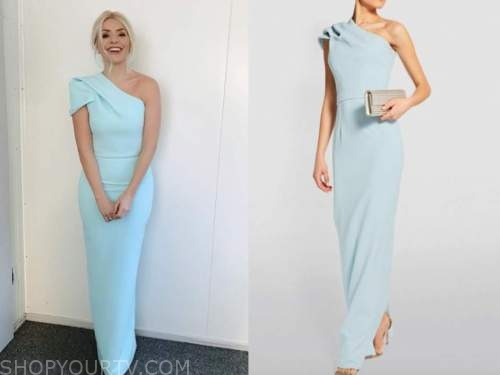 holly willoughby, dancing on ice, blue one-shoulder dress