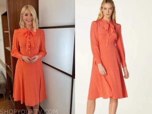 holly willoughby, this morning, coral pink polka dot tie neck dress