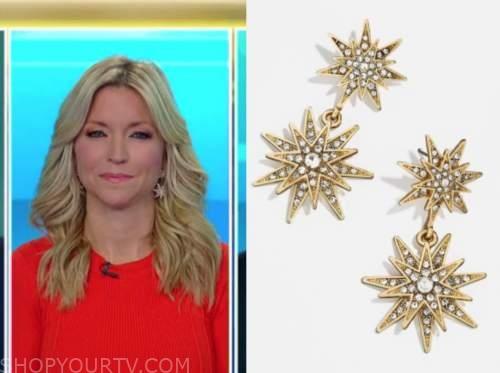ainsley earhardt, fox and friends, star embellished drop earrings