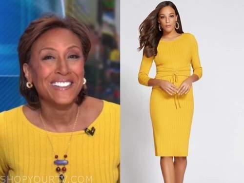 robin roberts, good morning america, yellow sweater dress
