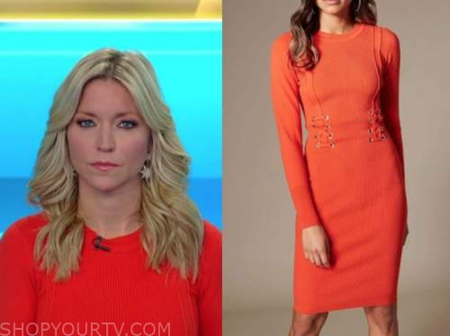 ainsley earhardt, fox and friends, red orange ribbed knit dress