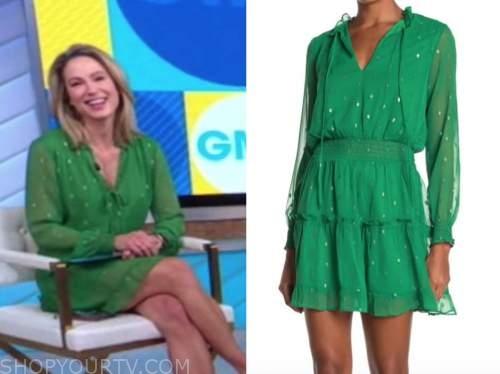 amy robach, good morning america, green metallic dot tie neck dress
