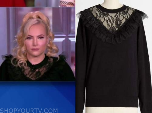 meghan mccain, the view, black lace ruffle sweater