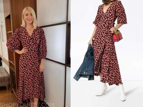 holly willoughby, this morning, floral wrap midi dress