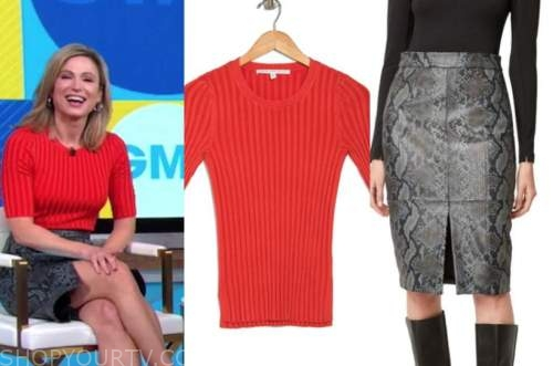 amy robach, good morning america, red knit top, grey snakeskin skirt