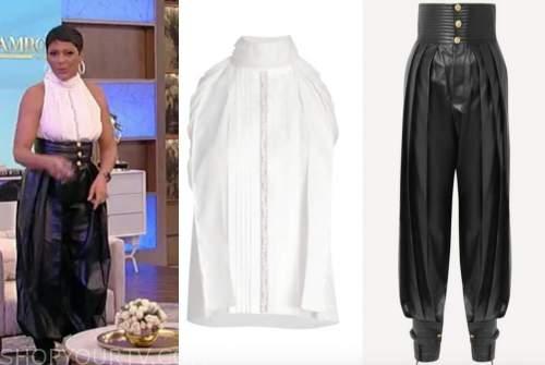 tamron hall, tamron hall show, white halter top, black leather pants