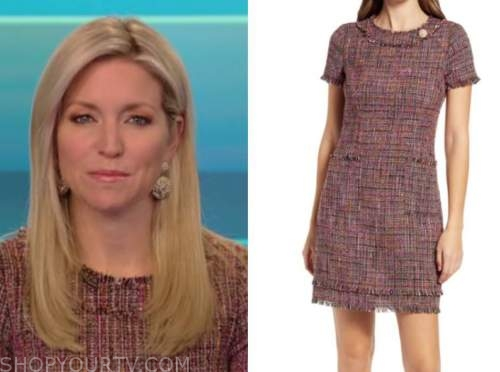 ainsley earhardt, fox and friends, red tweed shift dress