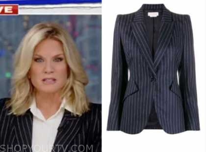 martha maccallum, the story, navy blue pinstripe blazer
