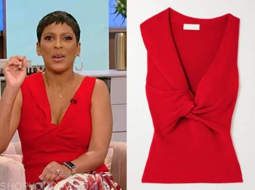 tamron hall, tamron hall show, red twist top
