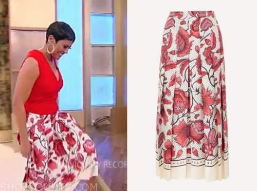 tamron hall, tamron hall show, red floral midi skirt