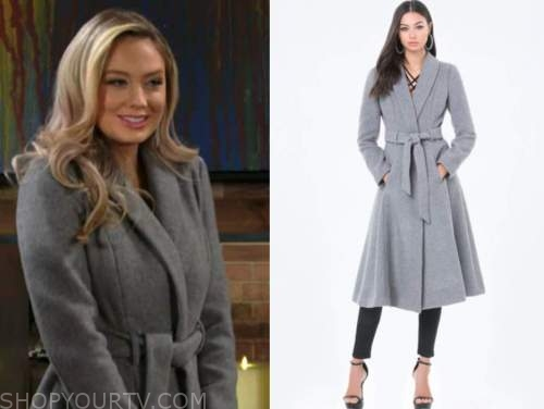 abby newman, melissa ordway, the young and the restless, grey wrap coat