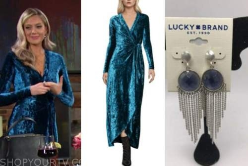 abby newman, melissa ordway, the young and the restless, blue velvet wrap dress, fringe earrings