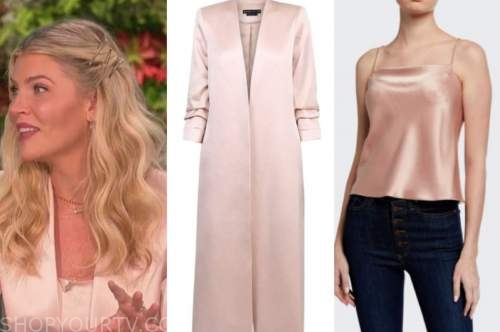 amanda kloots, the talk, blush pink satin coat and camisole top