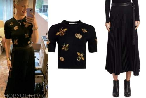 amanda kloots, the talk, black and gold bee sweater, black pleated skirt