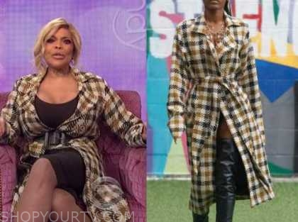 wendy williams, the wendy williams show, check plaid trench coat
