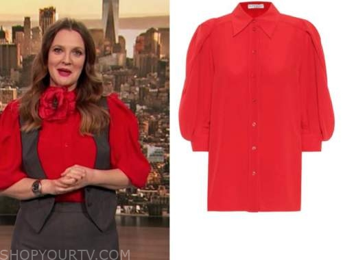 drew barrymore, drew barrymore show, red puff sleeve blouse