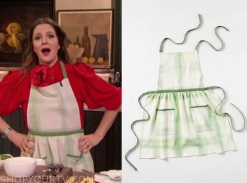 drew barrymore, drew barrymore show, green tie dye apron