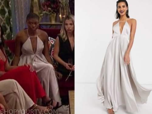 chelsea vaughn, the bachelor, silver cutout maxi dress