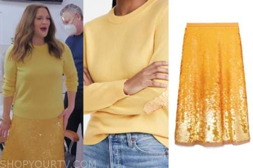 drew barrymore, drew barrymore show, yellow sequin sweater, yellow sequin skirt