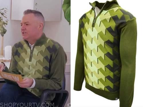 ross mathews, drew barrymore show, green geometric sweater