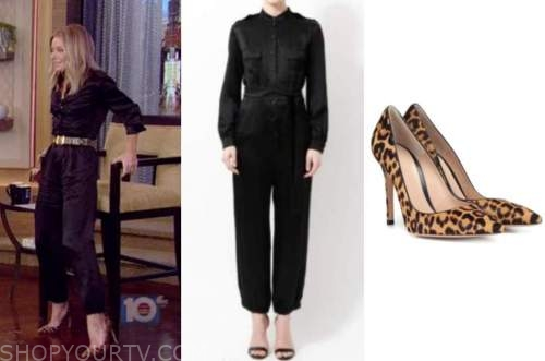 kelly ripa, live with kelly and ryan, satin jumpsuit, leopard pumps