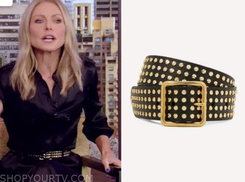 kelly ripa, black studded belt, live with kelly and ryan