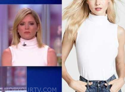 sara haines, the view, white turtleneck sleeveless top