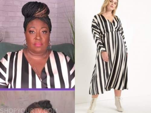 loni love, the real, black and white striped silk midi dress