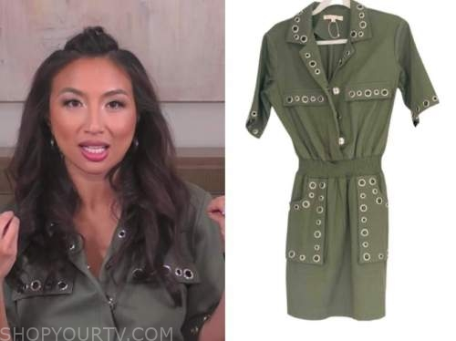jeannie mai, the real, green grommet dress