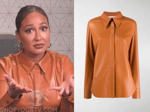 adrienne bailon, the real, orange brown leather shirt