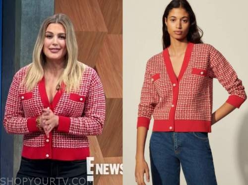 carissa culiner, E! news, daily pop, red tweed pearl button cardigan sweater
