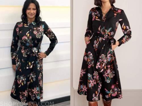 ranvir singh, good morning britain, black floral shirt dress
