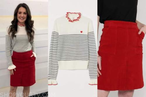 good morning britain, ruffle striped jumper, red skirt, laura tobin