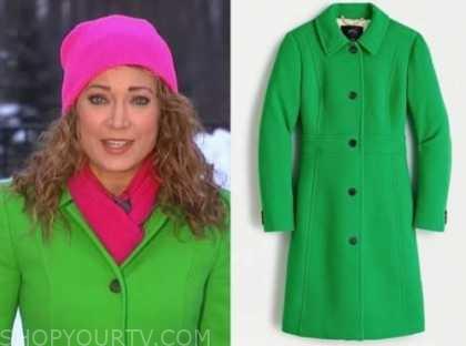 ginger zee, good morning america, green coat
