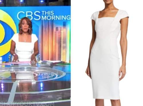 gayle king, cbs this morning, white square neck sheath dress