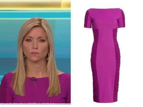 ainsley earhardt, purple pink ruched sleeve dress, fox and friends