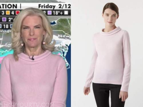 janice dean, fox and friends, blush pink roll neck sweater