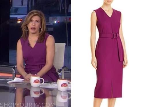 hoda kotb, the today show, purple v-neck belted sheath dress