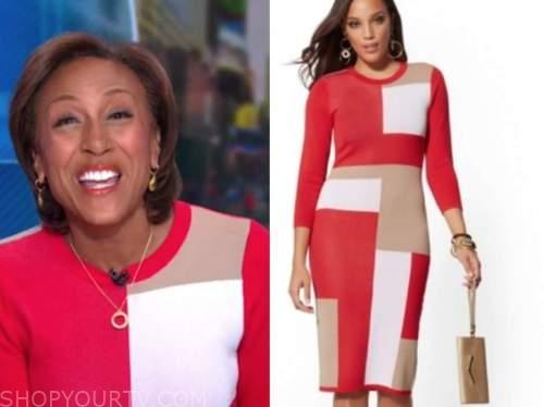 good morning america, robin roberts, red colorblock knit dress