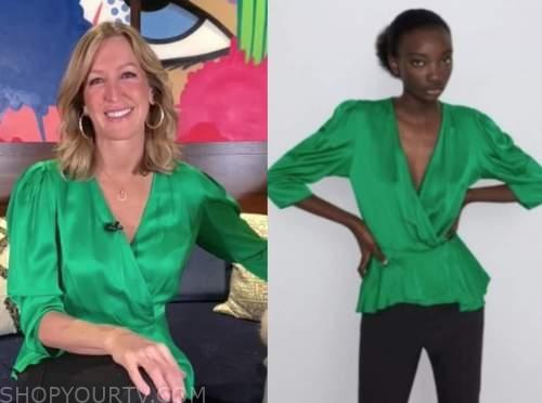 lara spencer, good morning america, green silk top
