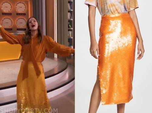 drew barrymore, drew barrymore show, orange sequin skirt